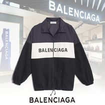 BALENCIAGA Casual Style Denim Nylon Blended Fabrics Plain Nylon Jacket