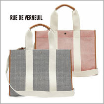 RUE DE VERNEUIL Casual Style Canvas A4 2WAY Plain Office Style Totes