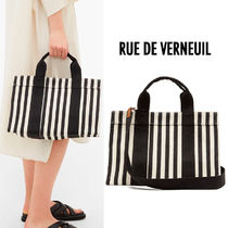 RUE DE VERNEUIL Stripes Casual Style Canvas 2WAY Elegant Style Totes