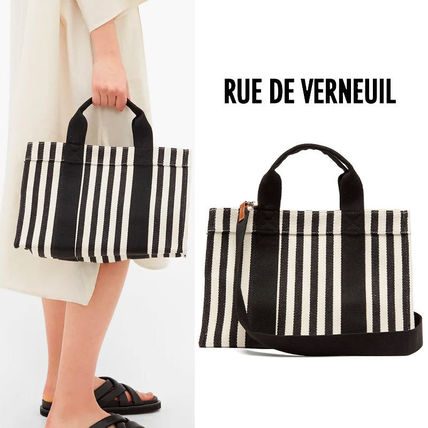 Stripes Casual Style Canvas 2WAY Elegant Style Totes