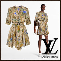 Louis Vuitton Crew Neck Flower Patterns Casual Style A-line Silk Flared