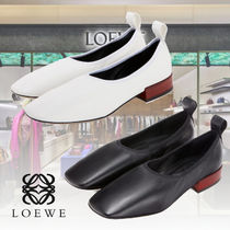 LOEWE Square Toe Plain Leather Elegant Style Pumps & Mules