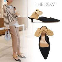 The Row Round Toe Suede Blended Fabrics Bi-color Plain Mules Bridal