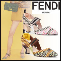 FENDI Gingham Flower Patterns Rubber Sole Casual Style Bi-color