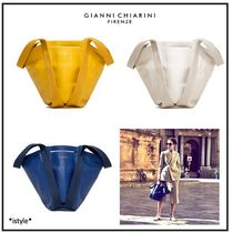 GIANNI CHIARINI 2WAY Plain Leather Elegant Style Totes