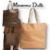 Massimo Dutti Casual Style A4 Plain Leather Office Style Totes