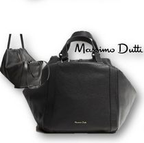 Massimo Dutti Casual Style 2WAY Plain Leather Office Style Handbags