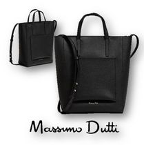 Massimo Dutti Casual Style 2WAY Plain Leather Office Style Totes