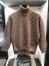 FENDI Casual Style Long Sleeves Elegant Style Logo Turtlenecks