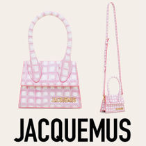 JACQUEMUS Gingham Calfskin 2WAY Leather Party Style Elegant Style