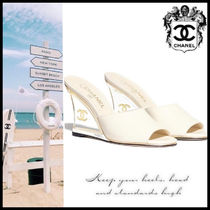 CHANEL Open Toe Casual Style Plain Leather Elegant Style