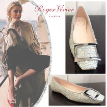 Roger Vivier Square Toe Tweed Blended Fabrics Leather Party Style