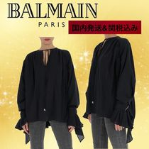 BALMAIN Casual Style Silk Long Sleeves Party Style Elegant Style