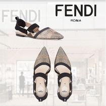 FENDI Casual Style With Jewels Pointed Toe Shoes