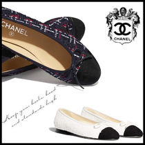 CHANEL Tweed Leather Ballet Shoes