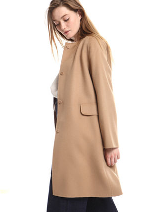 Casual Style Wool Office Style Elegant Style Coats