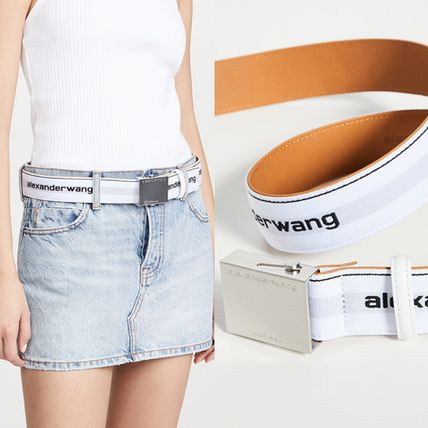 Casual Style Leather Logo Belts