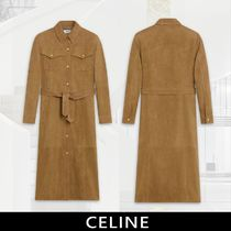 CELINE Casual Style Long Sleeves Medium Elegant Style Front Button