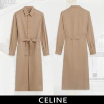 CELINE Long Sleeves Cotton Medium Elegant Style Front Button