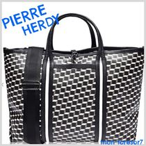 Pierre Hardy Canvas A4 2WAY Leather Elegant Style Totes