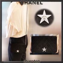 CHANEL CHAIN WALLET Star Suede Chain Plain Leather With Jewels Chain Wallet