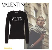 VALENTINO VLTN Crew Neck Casual Style Wool Cashmere Long Sleeves Medium