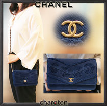 CHANEL CHAIN WALLET Unisex Denim Chain Plain Chain Wallet Bridal Logo