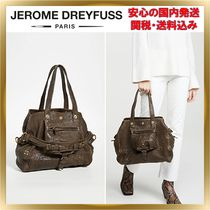 Jerome Dreyfuss Lambskin A4 Plain Leather Office Style Totes