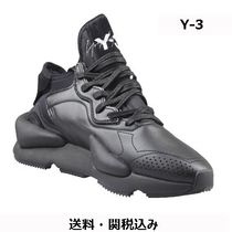 Y-3 Plain Leather Low-Top Sneakers