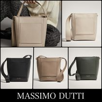 Massimo Dutti Casual Style Plain Leather Elegant Style Shoulder Bags