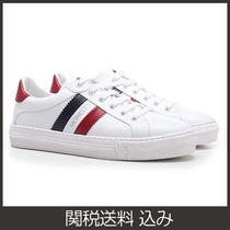 MONCLER Stripes Plain Toe Lace-up Casual Style Logo Low-Top Sneakers