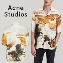 Acne Henry Neck Other Animal Patterns Cotton Short Sleeves