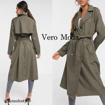 VERO MODA Stand Collar Coats Casual Style Plain Long Elegant Style