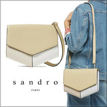 sandro Casual Style Blended Fabrics Bi-color Chain Plain Leather