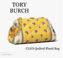 Tory Burch Flower Patterns Casual Style Leather Logo Shoulder Bags
