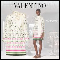 VALENTINO Stripes Flower Patterns Silk Long Sleeves Medium Party Style