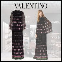 VALENTINO Flower Patterns Silk Blended Fabrics Long Party Style