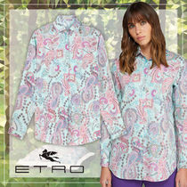 ETRO Paisley Casual Style Long Sleeves Cotton Medium Oversized