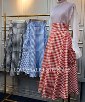 Flared Skirts Gingham Casual Style Long Midi Maxi Skirts