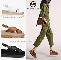 Michael Kors Open Toe Platform Rubber Sole Casual Style Plain