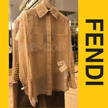 FENDI Gingham Other Check Patterns Casual Style Long Sleeves