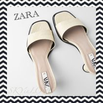 ZARA Open Toe Square Toe Casual Style Other Animal Patterns