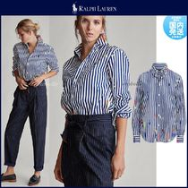 Ralph Lauren Stripes Casual Style Long Sleeves Cotton Elegant Style