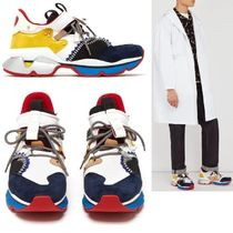 Christian Louboutin Suede Studded Street Style Plain Handmade Sneakers