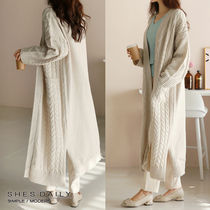 Cable Knit Casual Style Long Sleeves Long Sweaters