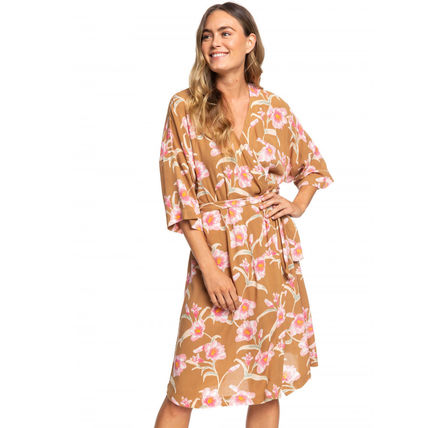 ROXY Wrap Dresses Flower Patterns Casual Style V-Neck Cropped