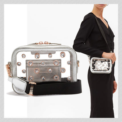 Casual Style Studded Party Style Crystal Clear Bags