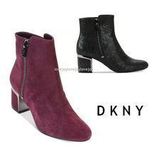 DKNY Plain Toe Casual Style Suede Plain Block Heels Python
