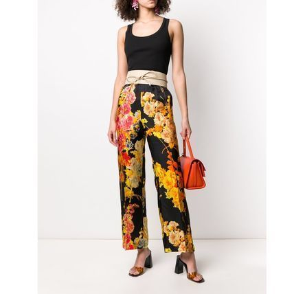 Flower Patterns Casual Style Street Style Plain Long