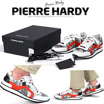 Pierre Hardy Stripes Studded Street Style Leather Sneakers